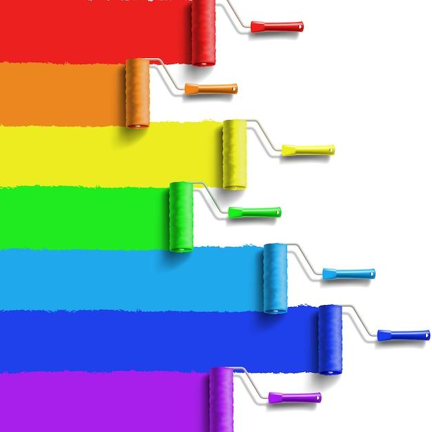Spazzola a rullo con vernice color arcobaleno Vettore Premium