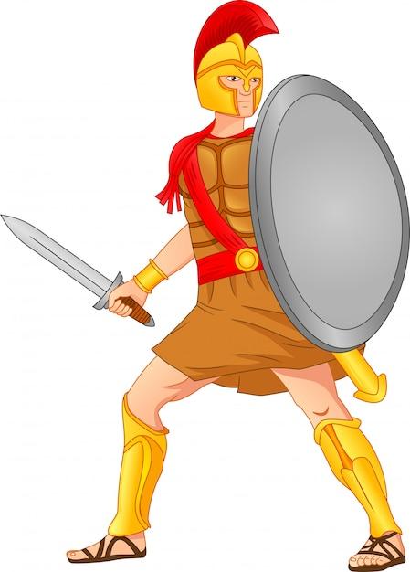 Soldati romani che tengono spade e scudi Vettore Premium