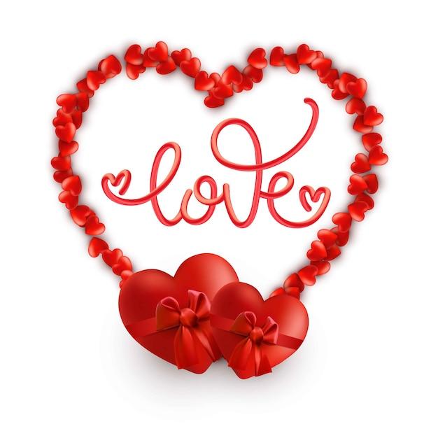 Cornice cuore romantico con la parola amore. Vettore Premium