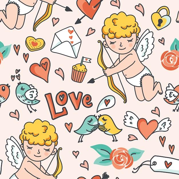 Romantico modello senza giunture. cupido carino, uccelli, buste, cuori e altri elementi di design. illustrazione Vettore Premium