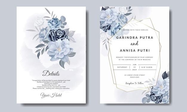 Modello di carta di invito matrimonio romantico impostato con foglie floreali blu Vettore Premium