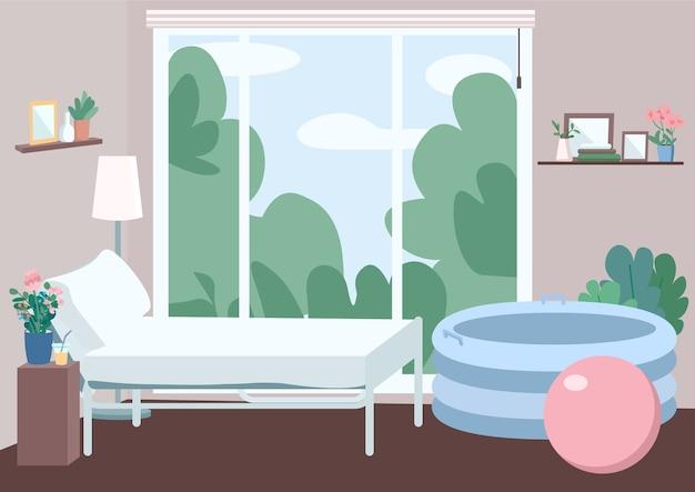 Camera per l'illustrazione a colori piatto parto domestico. letto per la mamma. appartamento in centro familiare. vasca e palla gonfiabili per metodo lamaze. interiore del fumetto appartamento 2d con finestra sullo sfondo Vettore Premium