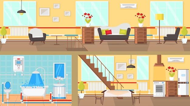 Illustrazione piana di vettore di concetto interno delle stanze. Vettore Premium