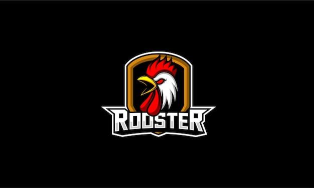 Emblema di testa di pollo gallo Vettore Premium