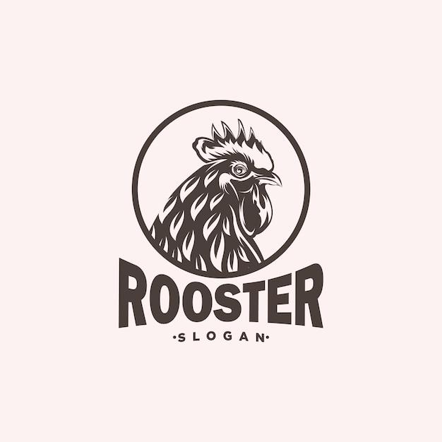 Illustrazione di progettazione di logo della testa del gallo Vettore Premium