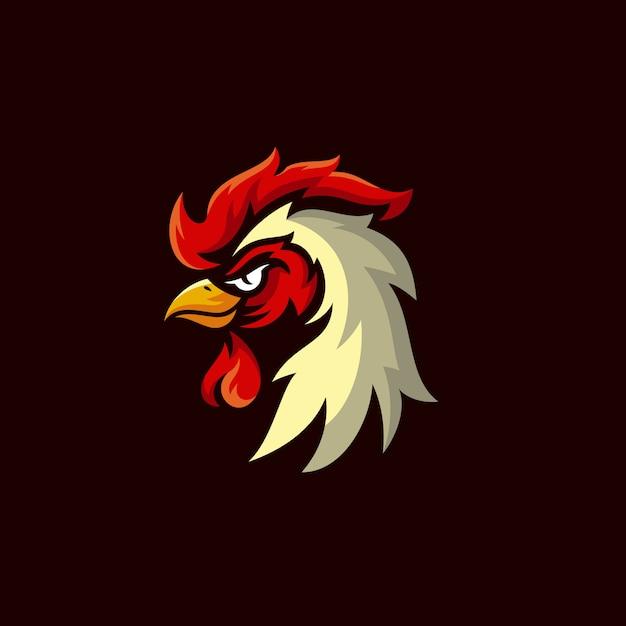 Disegno logo mascotte gallo Vettore Premium