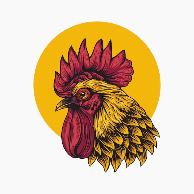 Gallo sul logo del cerchio giallo Vettore Premium