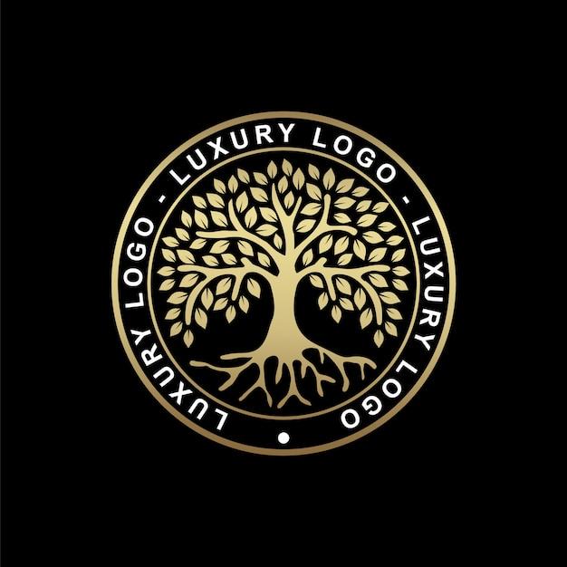 Radice o albero, simbolo dell'albero della vita a forma di cerchio. bella illustrazione della radice isolata con colore oro Vettore Premium