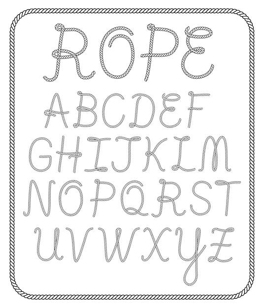 Accumulazione della lettera dell'alfabeto della corda Vettore Premium