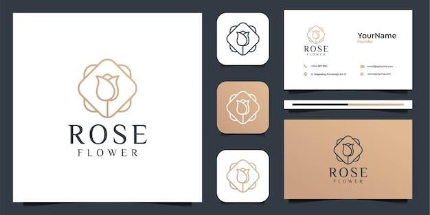 Progettazione grafica di vettore dell'illustrazione di logo del fiore della rosa. buono per il marchio, l'icona, la pubblicità, la decorazione, il femminile e il biglietto da visita Vettore Premium
