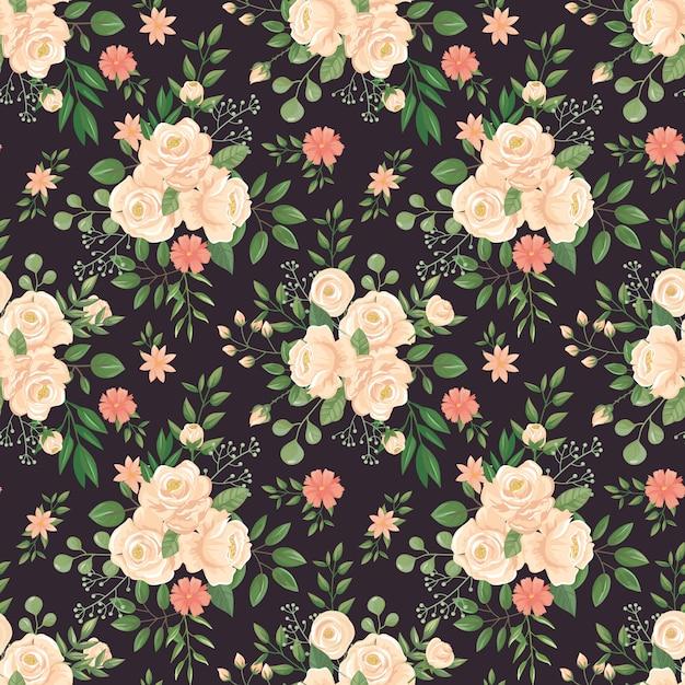 Motivo floreale rosa stampa nera delle rose, germogli di fiore e illustrazione scura senza cuciture floreale del fondo Vettore Premium