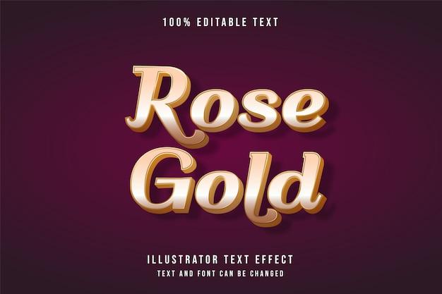 Oro rosa, effetto di testo modificabile 3d. Vettore Premium