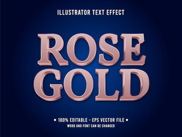 Effetto di testo modificabile in oro rosa 3d stile metallico con colore rosa Vettore Premium