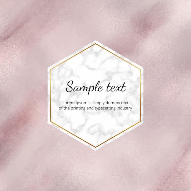 Sfondo di lamina acquerello oro rosa con cornice in marmo Vettore Premium