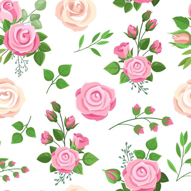 Modello senza cuciture delle rose Vettore Premium