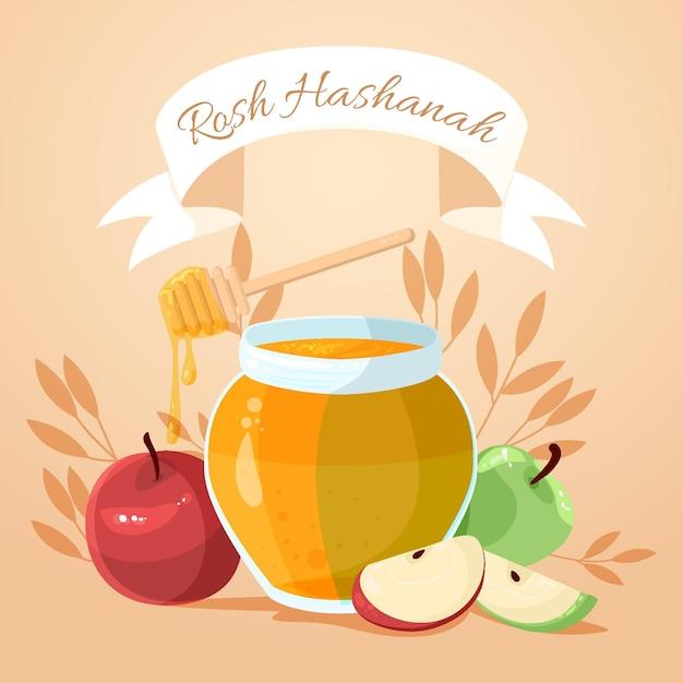 Rosh hashanah con miele e mela Vettore Premium