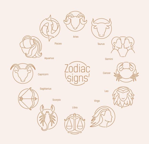 Composizione rotonda con segni zodiacali Vettore Premium