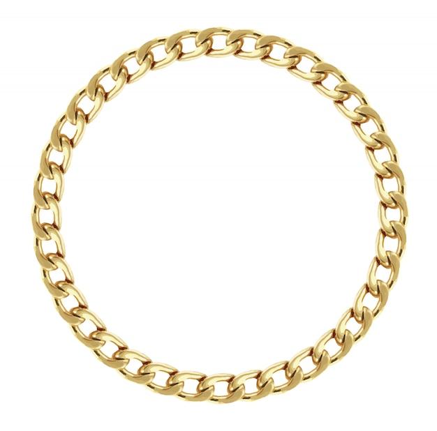 Cornice rotonda realizzata con catena dorata. premio Vettore Premium