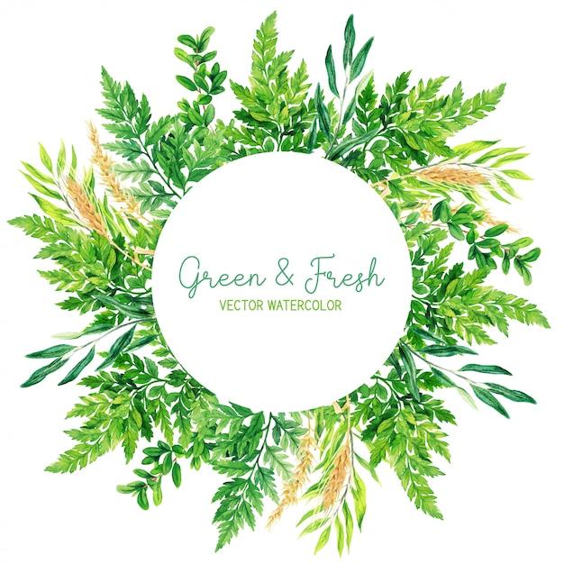 Cornice rotonda con foglie, felci e orecchie disegnate a mano dell'acquerello Vettore Premium