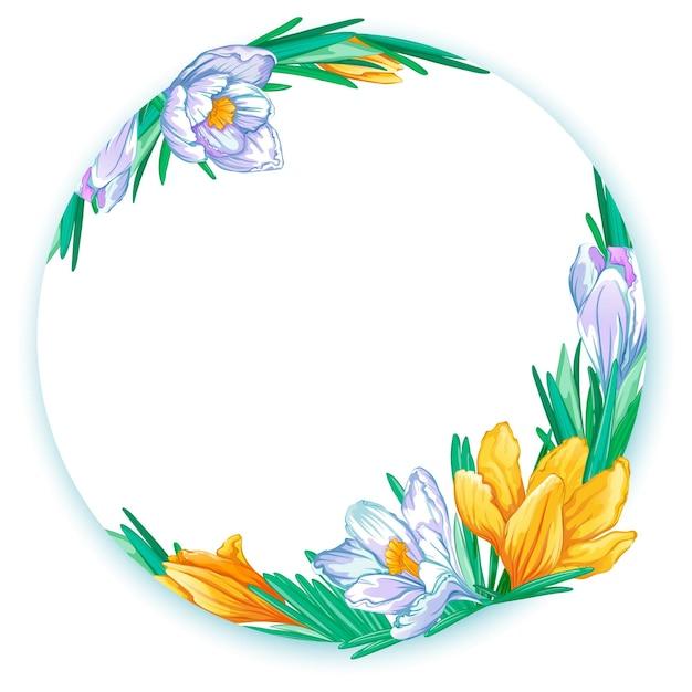 Cornice rotonda con crochi primaverili bianchi e arancioni. modello floreale per testo o foto. Vettore Premium