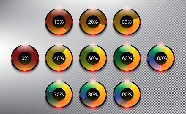 Spinner a caricamento tondo. barre di caricamento dell'avanzamento. isolato sullo sfondo bianco. Vettore Premium