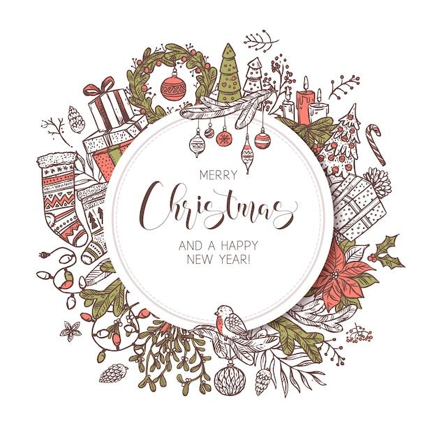 Banner, etichetta o emblema rotondo di buon natale e felice anno nuovo con elementi e decorazioni festive di disegno carino. schizzo sfondo vacanza e illustrazione Vettore Premium