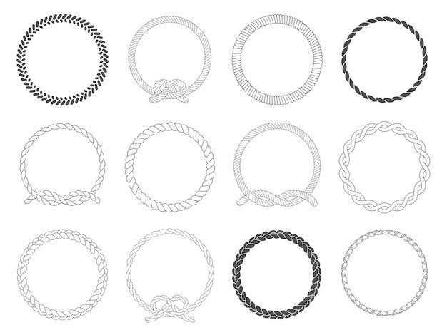 Cornice a corda tonda. set di cerchi circolari, bordo arrotondato e cerchi marini decorativi Vettore Premium