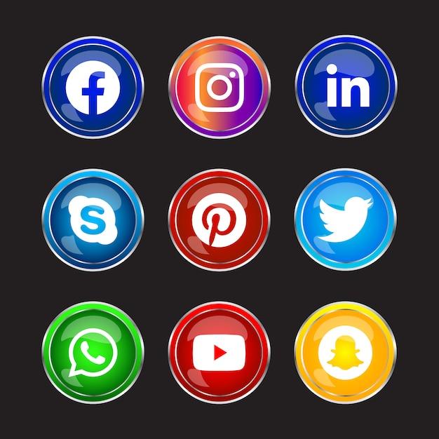 Cornice rotonda in argento lucido pulsante icone social media con effetto sfumato impostato per l'utilizzo in linea dell'interfaccia utente ux Vettore Premium
