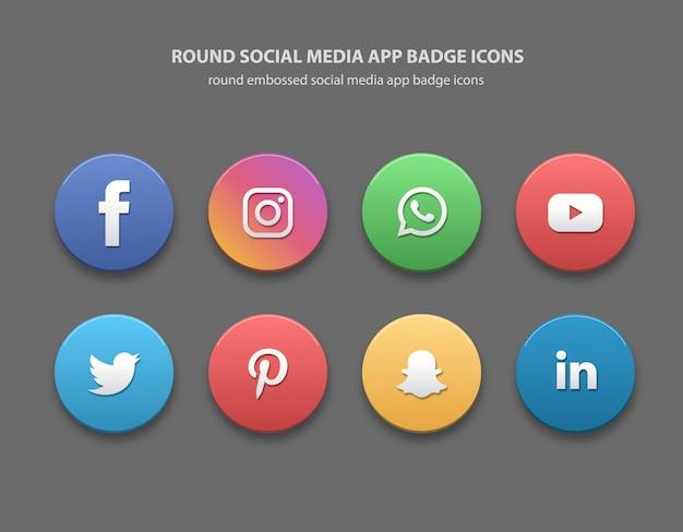 Round social media app badge icone Vettore Premium