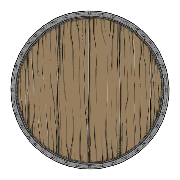 Cartello in legno tondo Vettore Premium