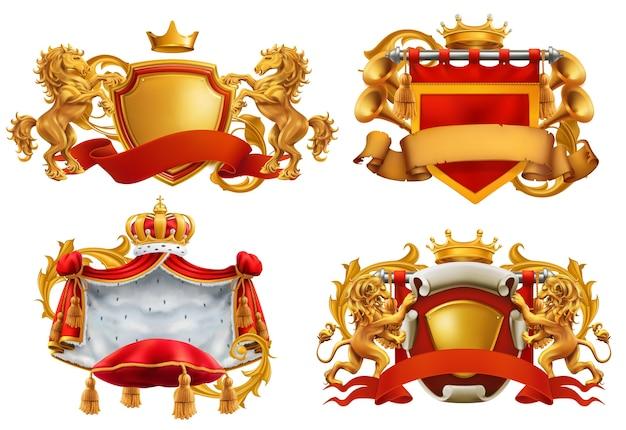 Stemma reale. re e regno. Vettore Premium