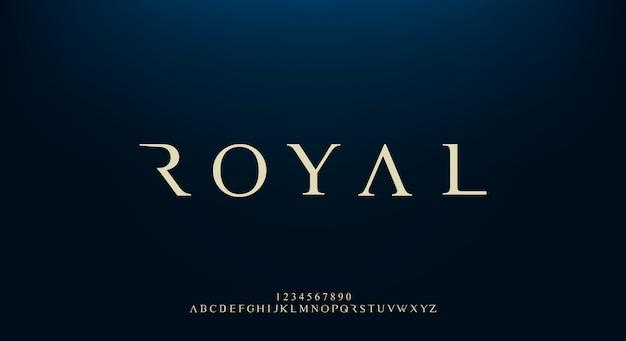 Royal, un elegante carattere alfabeto sans serif con tema premium. moderno design tipografico minimalista Vettore Premium