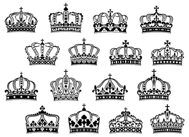 Corone reali o imperiali con pietre preziose e decorazioni per araldica o design medievale Vettore Premium