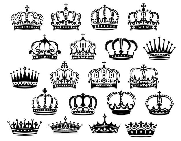 Corone araldiche reali medievali incastonate in bianco e nero adatte per araldica, monarchia e concetti vintage Vettore Premium