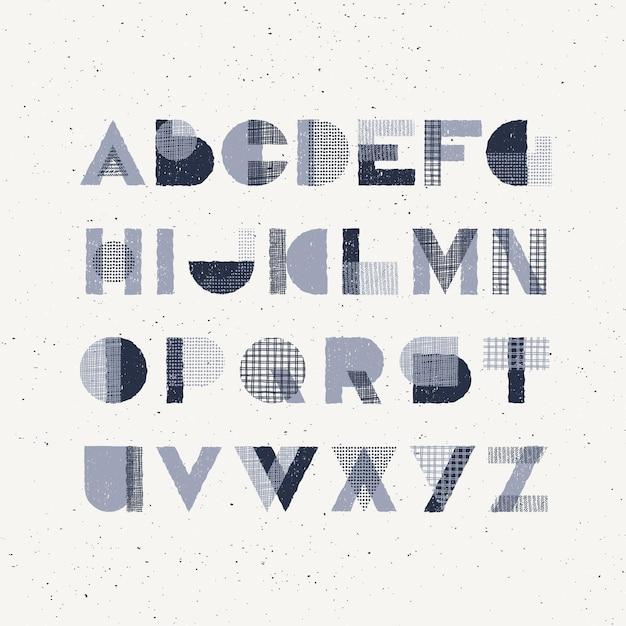 Forme geometriche effetto timbro di gomma e trame disegnate a mano carattere decorativo maiuscolo, tipo latino grafico monocromatico. Vettore Premium