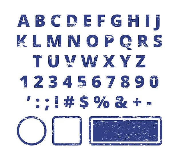 Carattere timbro di gomma. tipografia del modello di lettere e numeri rossi per timbro. Vettore Premium