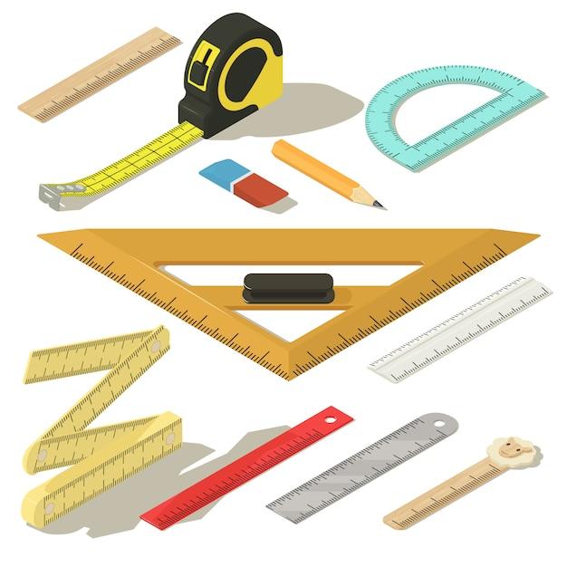 Set di icone matita misura righello. un'illustrazione isometrica di 11 icone di vettore della matita di misura del righello per il web Vettore Premium