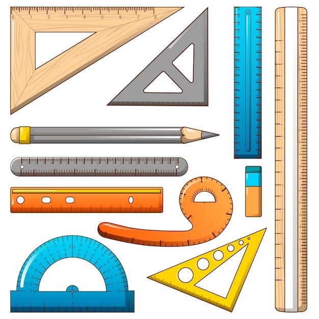 Set di icone matita misura righello Vettore Premium