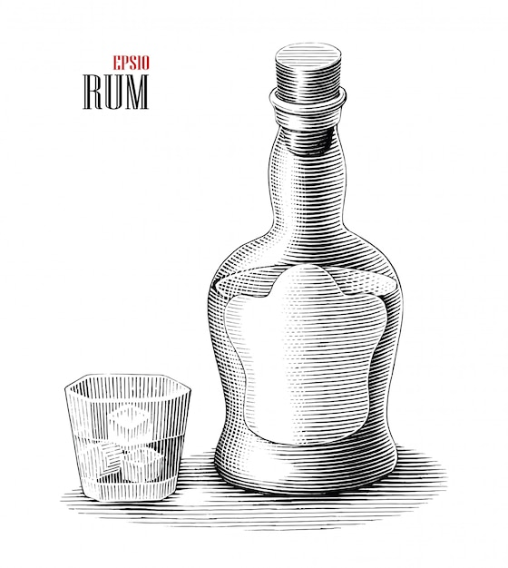 Bottiglia di rum con clipart in bianco e nero di stile dell'incisione dell'illustrazione di vetro isolata Vettore Premium