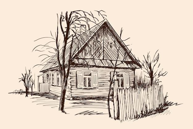 Paesaggio rurale con una vecchia casa in legno e un recinto rotto. schizzo a mano su uno sfondo beige. Vettore Premium