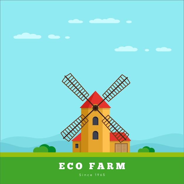 Paesaggio rurale con mulino a vento. concetto di fattoria eco Vettore Premium