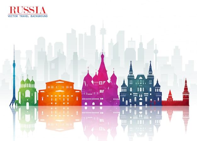 Russia landmark global travel and journey paper background Vettore Premium