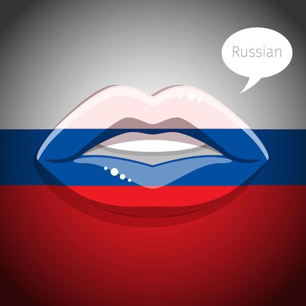 Concetto di lingua russa. labbra glamour con il trucco della bandiera russa Vettore Premium