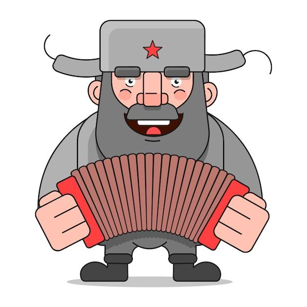 Uomo russo adatto per la stampa di biglietti di auguri, poster o t-shirt. Vettore Premium