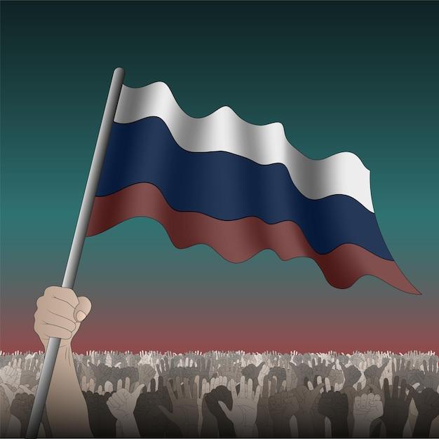 Bandiera russa sventolante in mano tra la folla. Vettore Premium