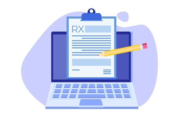 Modulo di prescrizione rx sul blocco degli appunti sul laptop. concetto di clinica online. Vettore Premium