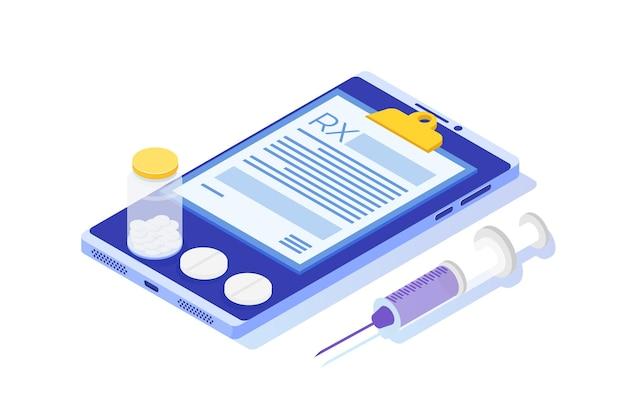 Modulo di prescrizione rx su blocco appunti su smartphone. concetto di clinica online. Vettore Premium