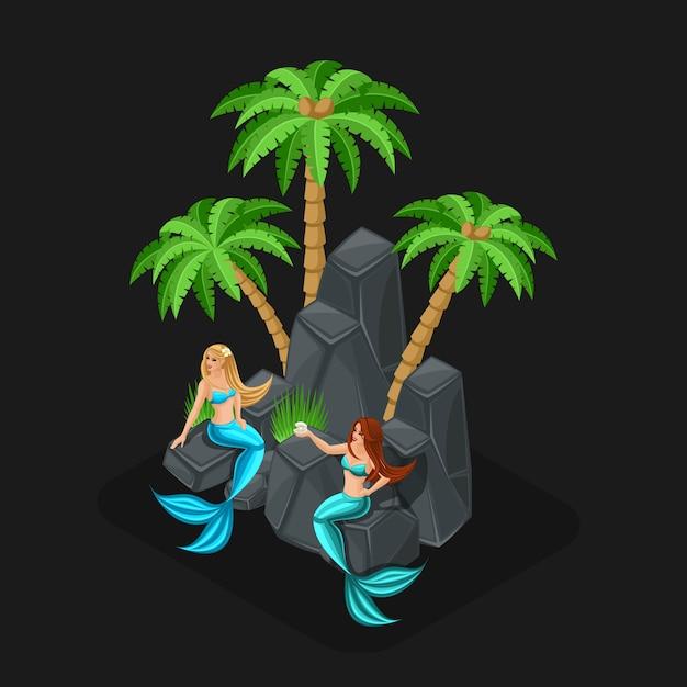 S game concept cartoon con personaggi delle fiabe, sirene, ragazze, mare, pesci, isole, pietre, oceano. illustrazione Vettore Premium