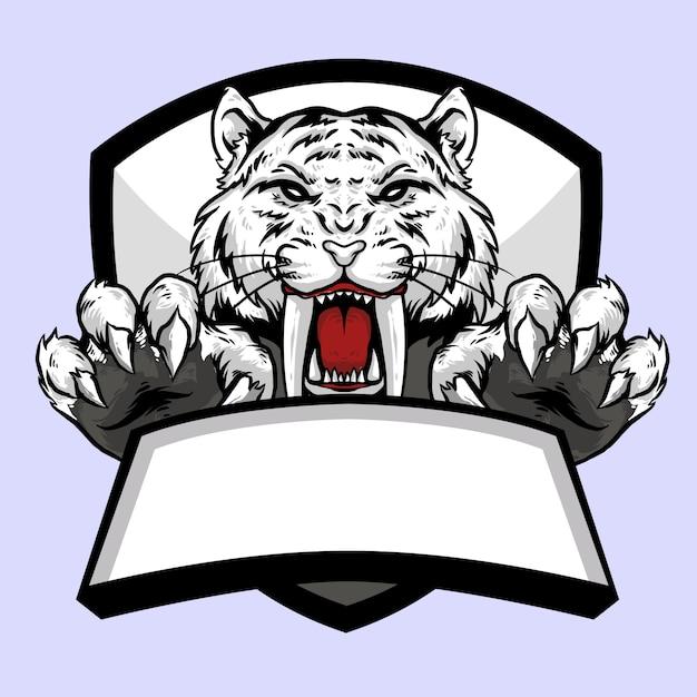 Testa di tigre bianca di sabertooth con artiglio e bandiera emblema logo design mascotte Vettore Premium
