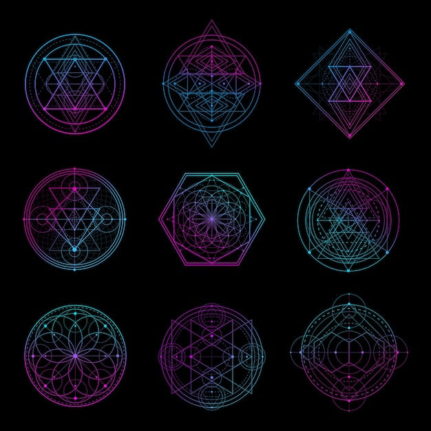 Sacred geometry sign with neon color Vettore Premium